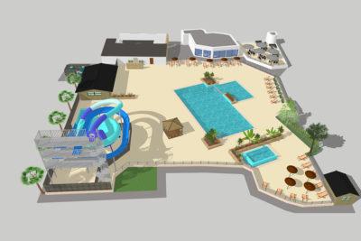 Construction parc aquatique et aménagement bois projet 3D HPA Camping - Plein Air ECO Concept