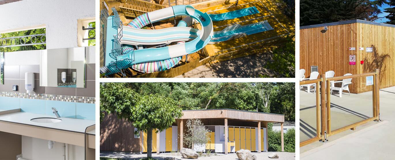 Réalisation de bloc sanitaire pour camping, de rénovation de sanitaire, de parc aquatique et de restaurants