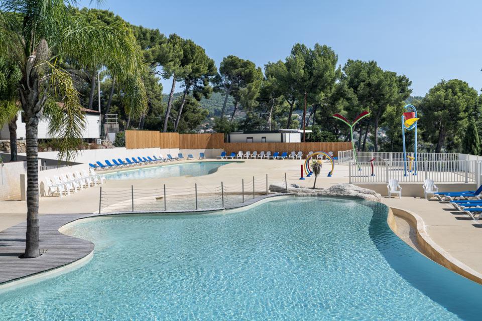 Construction parc aquatique aménagement bois HPA Camping - Plein Air ECO Concept