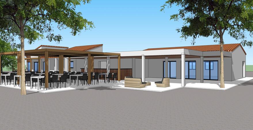 Réalisation de bâtiments commerciaux et techniques : restaurants, bars, snacks, accueil pour les campings et l'hôtellerie de plein air